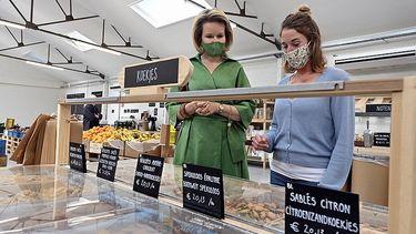 Koningin Mathilde shopt biologische producten